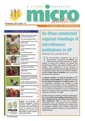 Micro Matters November 2010 Issue - Sa-Dhan