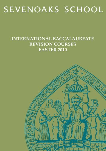 international baccalaureate revision courses easter 2010