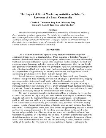 The Impact of Direct Marketing on Sales Tax Revenues of a Local ...