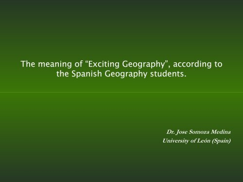 """The meaning of """"Exciting Geography"""" - HERODOT Network for ..."""