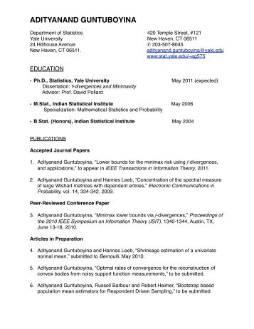 Curriculum Vitae - Welcome to the Department of Statistics - Yale ...