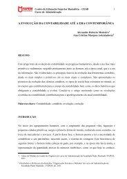 a evolução da contabilidade até a era contemporânea - Faculdade ...