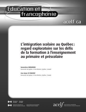 L'intégration scolaire au Québec : regard exploratoire sur les - acelf