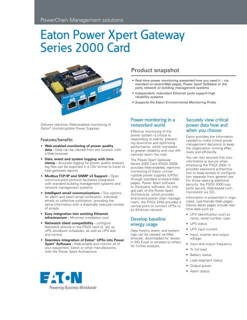 Power Xpert Gateway Series 2000 Card - HM Cragg