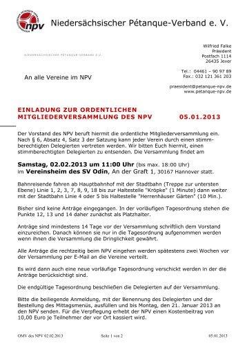Mail Einladung zur OMV 2013 - Niedersächsischer Pétanque-Verband