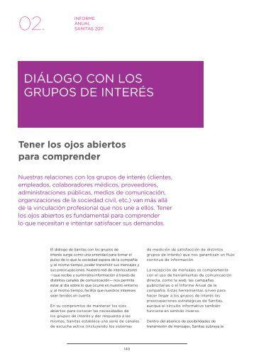 dIÁloGo Con los GruPos de InterÉs - Informe Anual 2011 - Sanitas