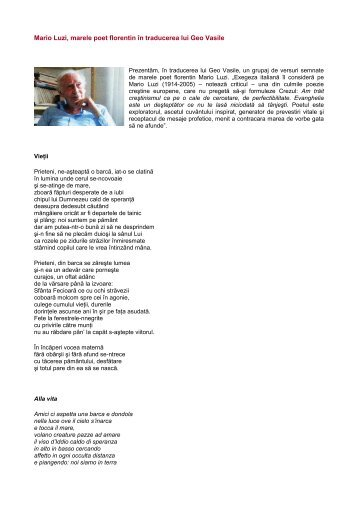 Mario Luzi, marele poet florentin în traducerea lui ... - Afrodita Cionchin