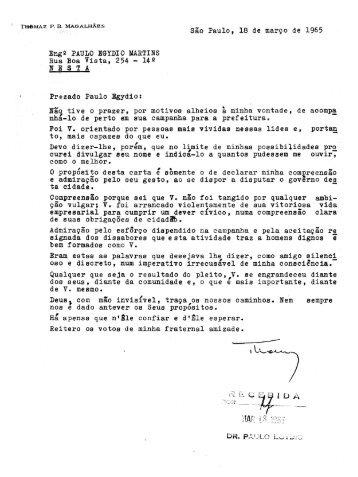 Sao Paulo, 18 de marco de 1965 Eng2 PAULO EGYDIO MARTINS ...