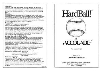Hardball Manual - Virtual Apple
