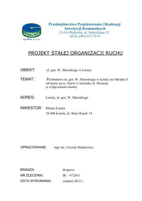 Zał. nr 40 - Projekt stałej organizacji ruchu - odc. 5 - Łomża