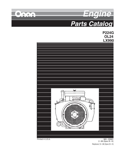 Onan Engine Parts Catalog P224G Spec B-H (Feb 1999)