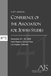 CONFERENCE OF THE ASSOCIATION FOR JEWISH STUDIES
