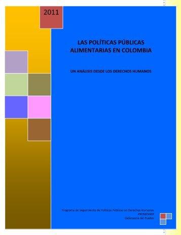 políticas públicas alimentarias en Colombia - Defensoría del Pueblo
