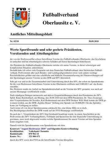 Mitteilungsblatt FVO 03/2010 - Fußballverband Oberlausitz