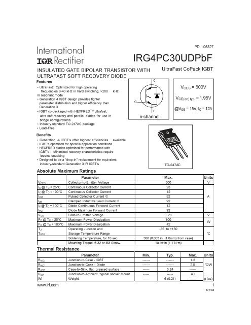 IRG4PC30UDPBF Datasheet - International Rectifier