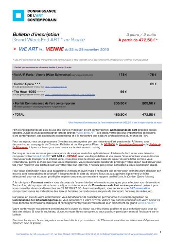 Bulletin d'inscription Vienne - Connaissance de l'Art Contemporain