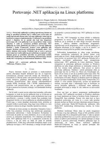 Portovanje .NET aplikacija na Linux platformu - Infoteh