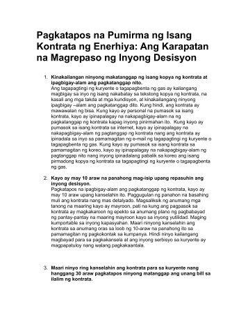 Pagkatapos na Pumirma ng Isang Kontrata ng Enerhiya: Ang ...