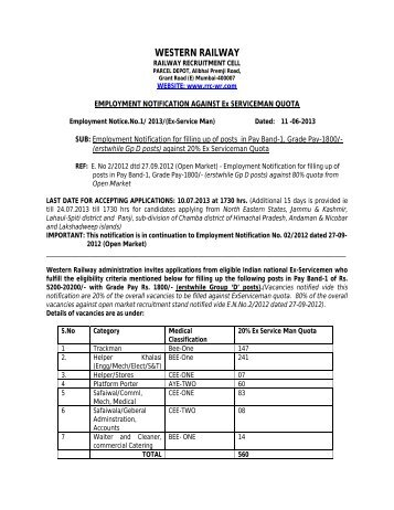 1 of Rs. 5200 - Railway Recruitment Cell - Western Railway