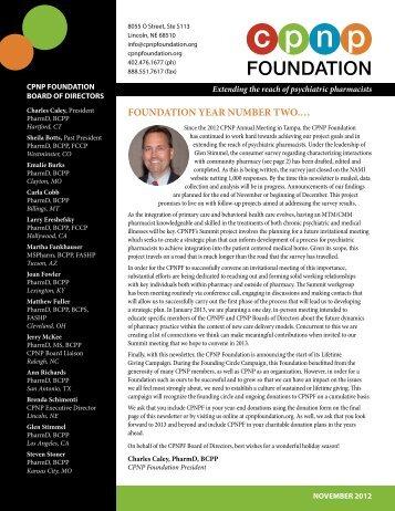November 2012 CPNP Foundation Newsletter - College of ...