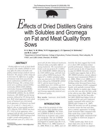 Effects of Dried Distillers Grains with Solubles and Gromega on Fat ...