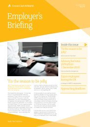 Employer's Briefing - Crowe Horwath International