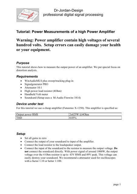 Measurement of a 1kW power amplifier - Dr-Jordan-Design