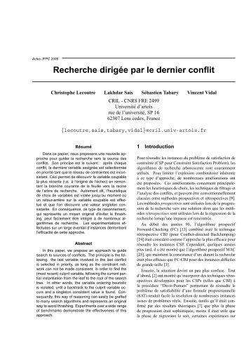 Recherche dirigée par le dernier conflit - Université d'Artois