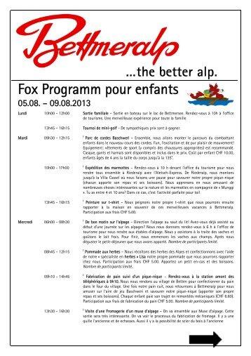 Fox Programm pour enfants - Riederalp