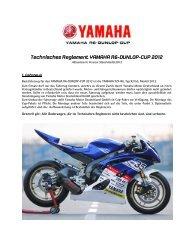 Technisches Reglement YAMAHA R6-DUNLOP-CUP 2012