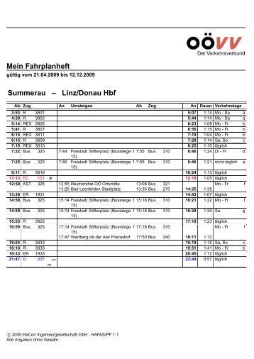 Mein Fahrplanheft Summerau – Linz/DonauHbf - Hagenberg