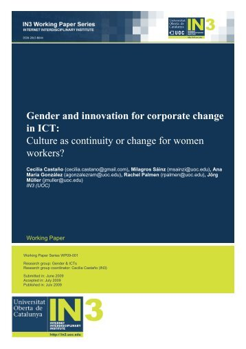 Gender and innovation for corporate change in ICT - European ...