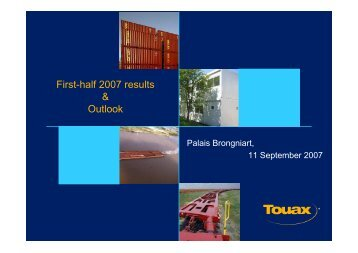 Financial analyst meeting at September 11th, 2007 on ... - touax group