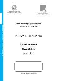 Prova di Italiano classe V primaria - Fascicolo 1 - Invalsi
