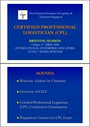 CERTIFIED PROFESSIONAL LOGISTICIAN (CPL) - CILT Singapore