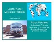Critical Node Detection Problem Panos Pardalos