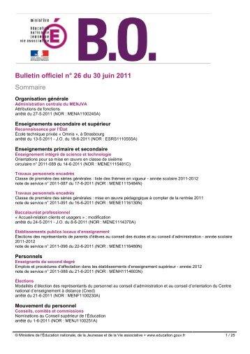 Bulletin officiel n° 26 du 30 juin 2011 Sommaire - les BOEN depuis ...