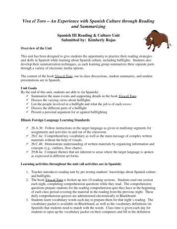 Viva el Toro – An Experience with Spanish Culture through Reading ...