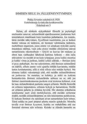 Ihmisen sielu ja jälleensyntyminen, ver. II, 8.4.1928. - Pekka Ervast
