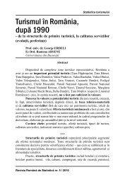 Turismul în România, După 1990 - Revista Română de Statistică