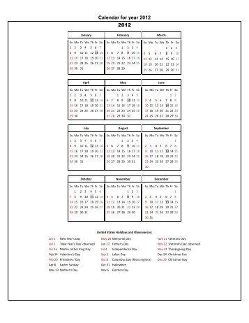 Calendar for year 2012 2012