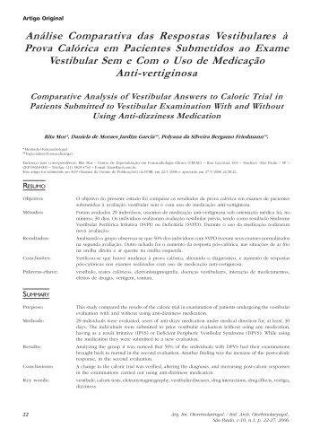 Análise Comparativa das Respostas Vestibulares à Prova Calórica ...
