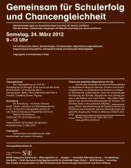 Gemeinsam für Schulerfolg und Chancengleichheit - Integration ...