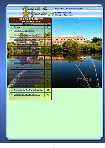 Boletín Informativo - DICIEMBRE 2012 - Ejército Nacional