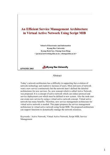 An Efficient Service Management Architecture in Virtual ... - APNOMS