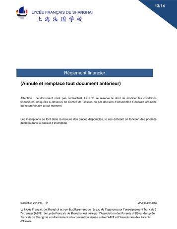 Règlement financier 2013/14 - Lycée français de Shanghai