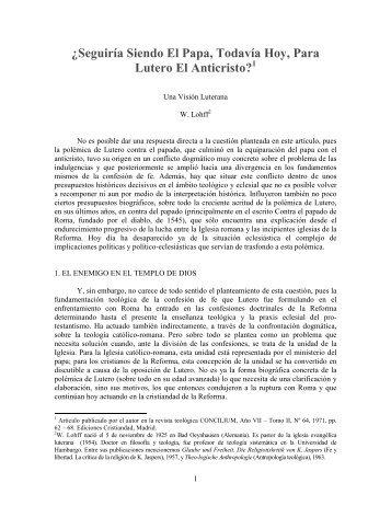 Lutero el papa y el anti Cristo - Escritura y Verdad
