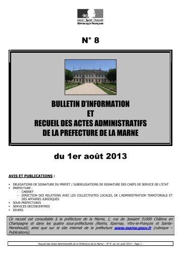 Recueil 8-2013 du 1er août (p 1 à 41) - Préfecture de la Marne