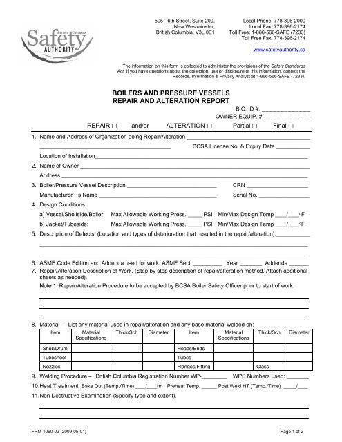 Boiler and Pressure Vessels Repair and Alteration Report