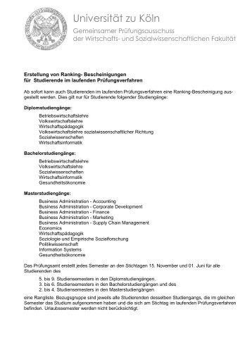Regelungen über Ranging-Bescheinigungen - Universität zu Köln